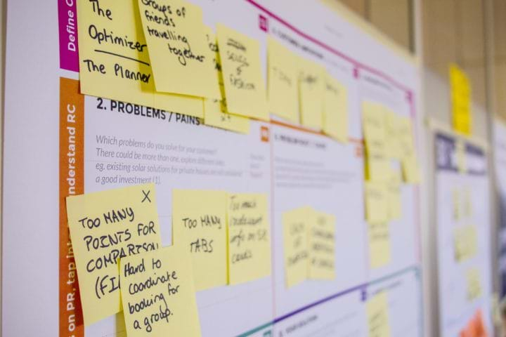 Post-it notes on a board during a design sprint