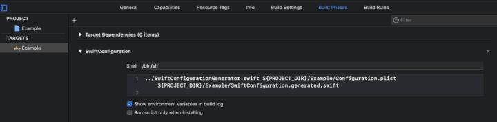 Build phase setup- swift configuration